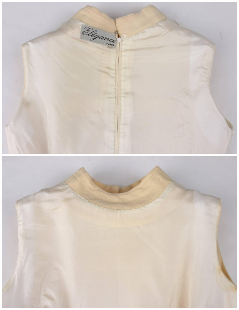 ELEGANCE Paris c.1960's Cream Wool Sleeveless Mod A Line Cocktail Dress For Sale 3
