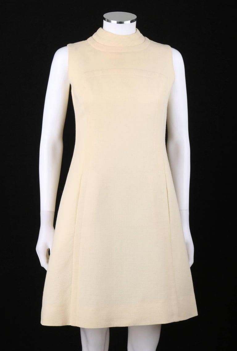 Beige ELEGANCE Paris c.1960's Cream Wool Sleeveless Mod A Line Cocktail Dress For Sale