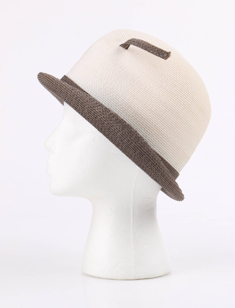 YVES SAINT LAURENT c.1960 s YSL Off White Taupe Straw Sculptural Leaf  Cloche Hat For 84fcbdb18320