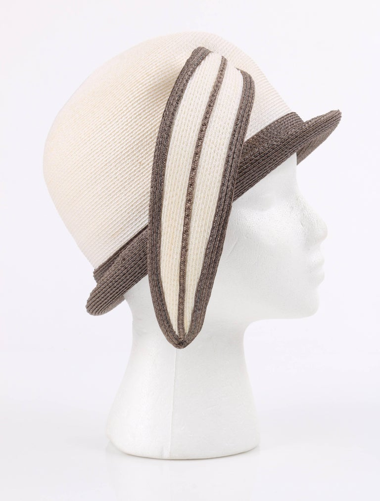 YVES SAINT LAURENT c.1960 s YSL Off White Taupe Straw Sculptural Leaf  Cloche Hat In c4501387efe4