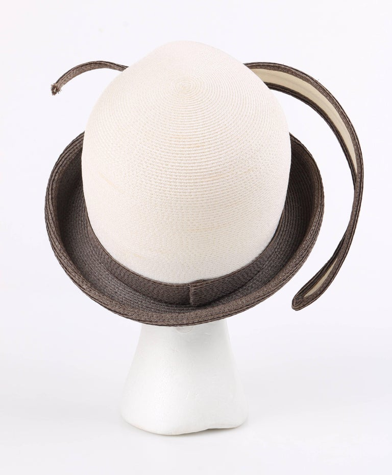 Women s YVES SAINT LAURENT c.1960 s YSL Off White Taupe Straw Sculptural  Leaf Cloche Hat 2c3d1a09184c