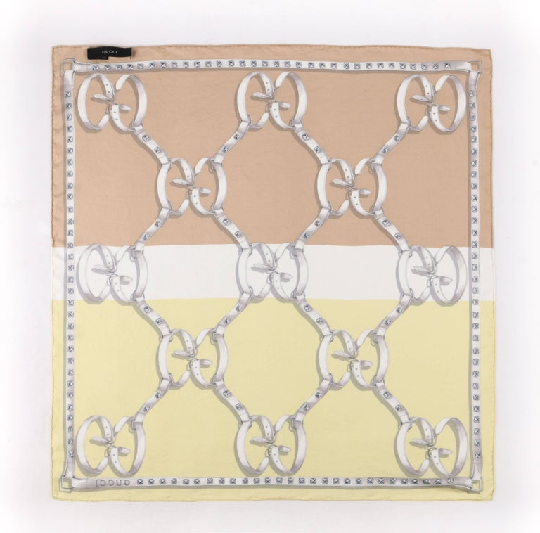 Beige GUCCI Tri-Color Double GG Monogram Equestrian Studded Belt Print Silk Scarf For Sale