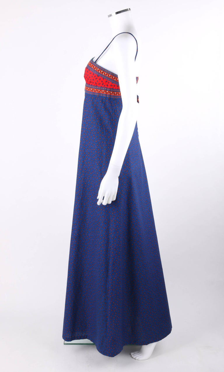 a41aac3f40 ANNE KLEIN c.1970 s Blue   Red Floral Paisley Print Empire Waist Maxi Dress  For