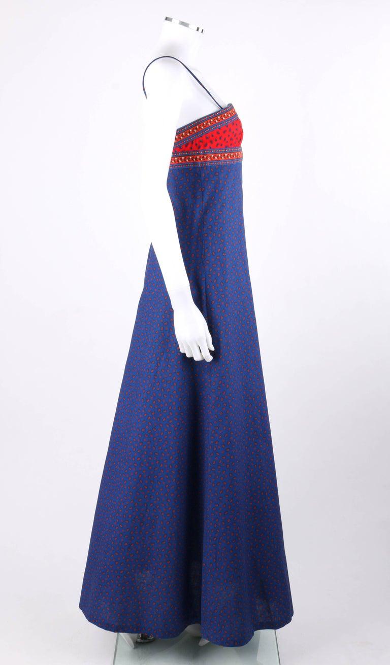 1d3cf71d95 Purple ANNE KLEIN c.1970 s Blue   Red Floral Paisley Print Empire Waist  Maxi Dress