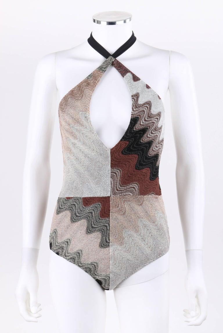 MISSONI Mare Multicolor Metallic Knit One Piece Halter Bodysuit ...