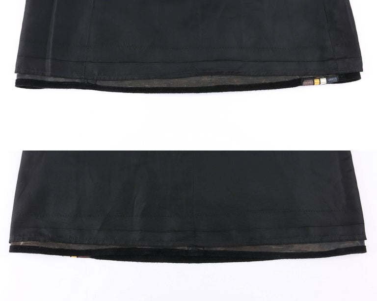 PIERRE CARDIN c.1960's Black Suede Striped Leather Trim Knee Length Skirt For Sale 3
