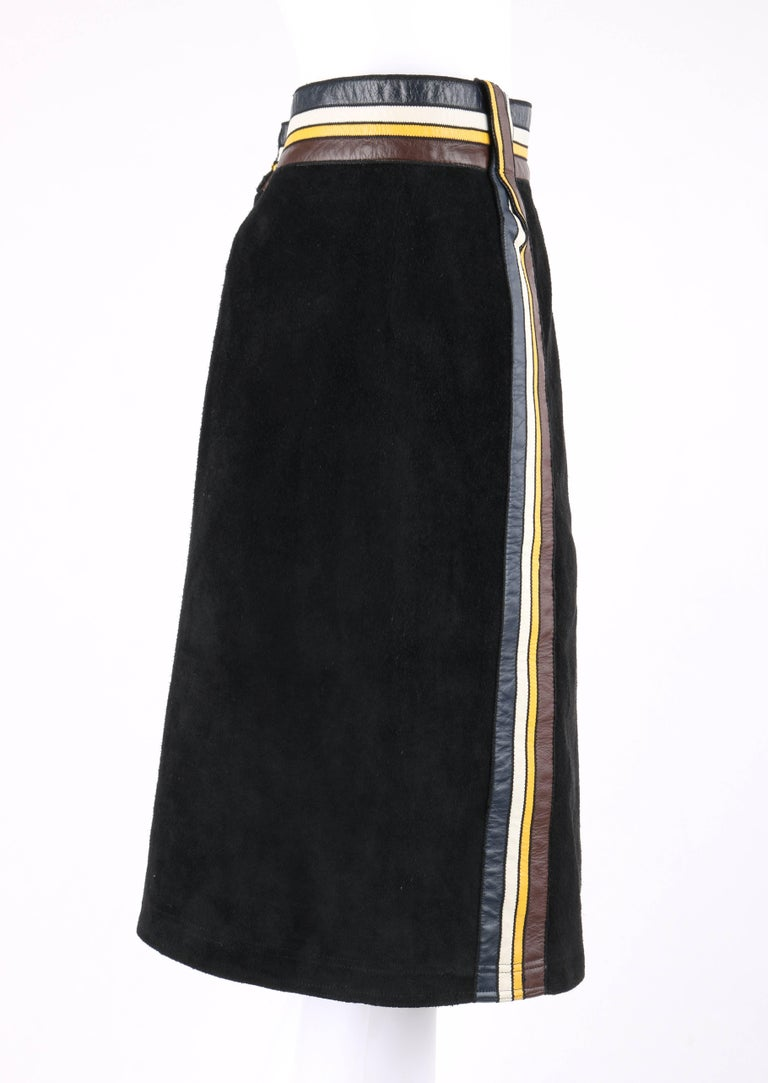 PIERRE CARDIN c.1960's Black Suede Striped Leather Trim Knee Length Skirt In Excellent Condition For Sale In Thiensville, WI