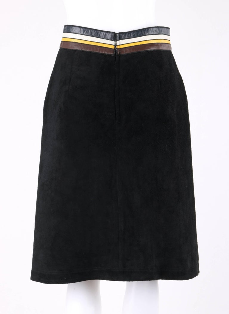 Women's PIERRE CARDIN c.1960's Black Suede Striped Leather Trim Knee Length Skirt For Sale