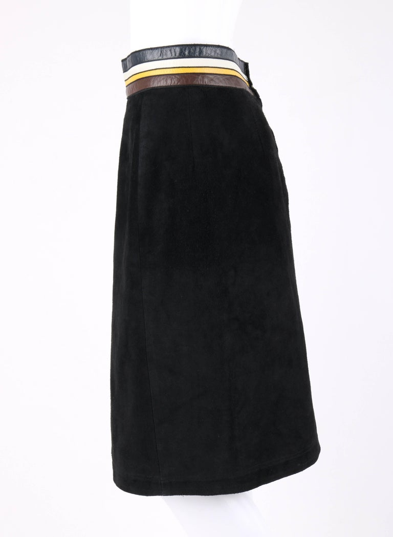 PIERRE CARDIN c.1960's Black Suede Striped Leather Trim Knee Length Skirt For Sale 1