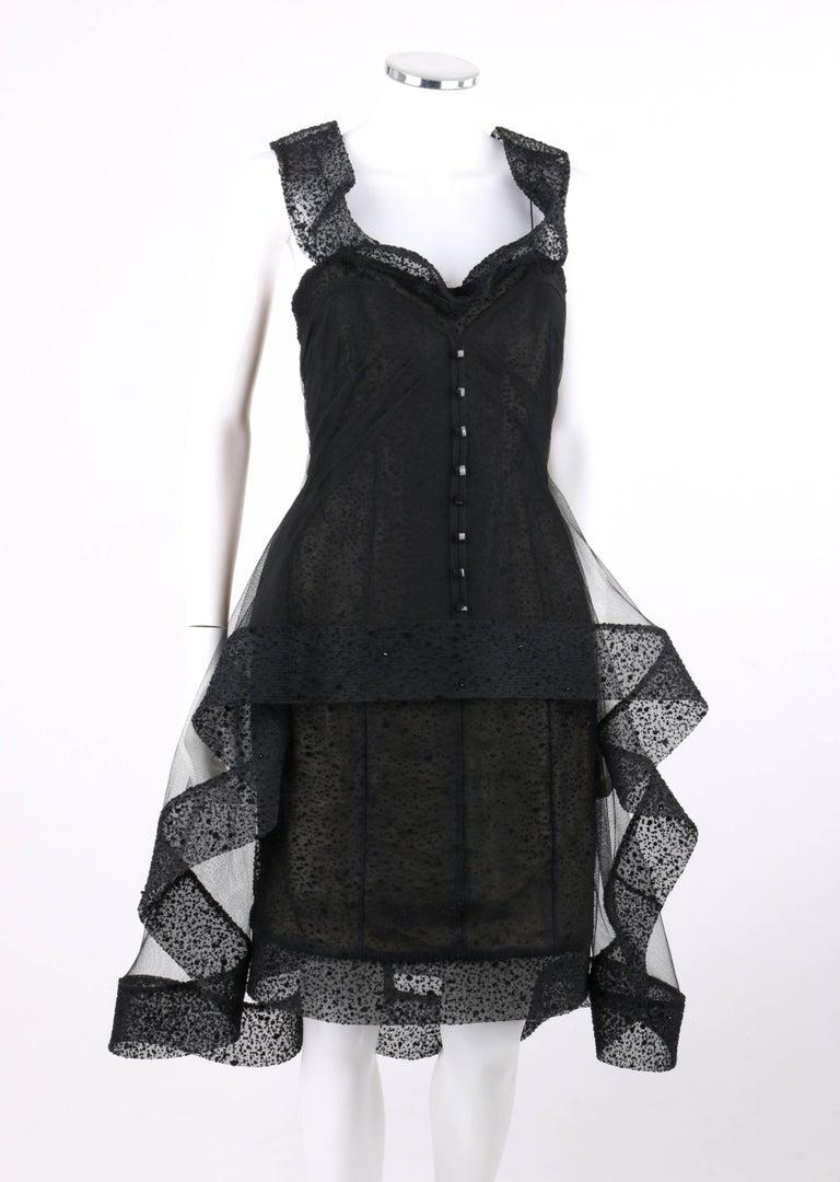 Alex Teih Black Silk Tulle Polka Dot High Low Avant Garde Formal