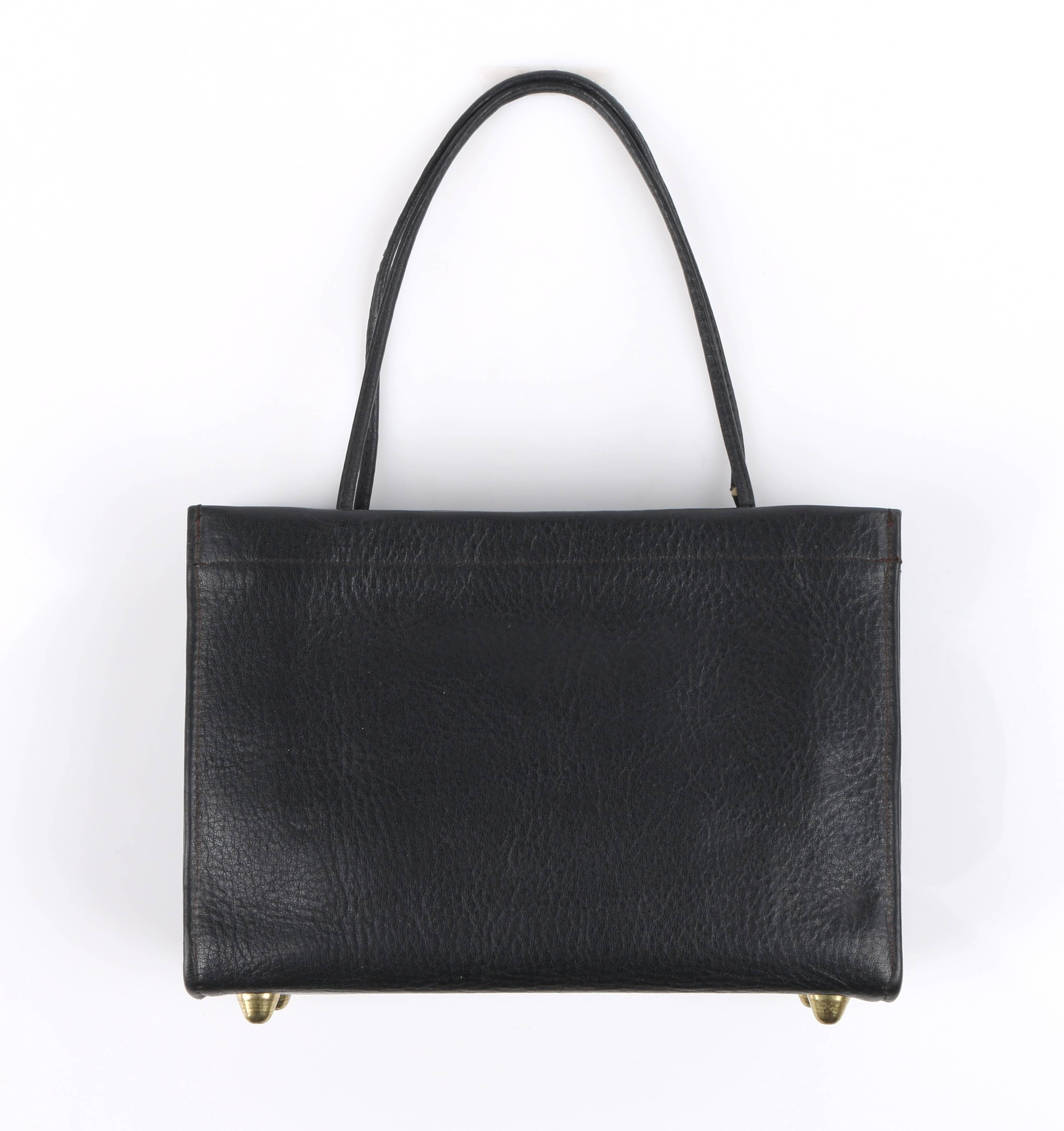 877423481f97 COACH c.1967 BONNIE CASHIN Black Pebbled Leather Kiss Lock Mini Tote Bag  Purse For Sale at 1stdibs