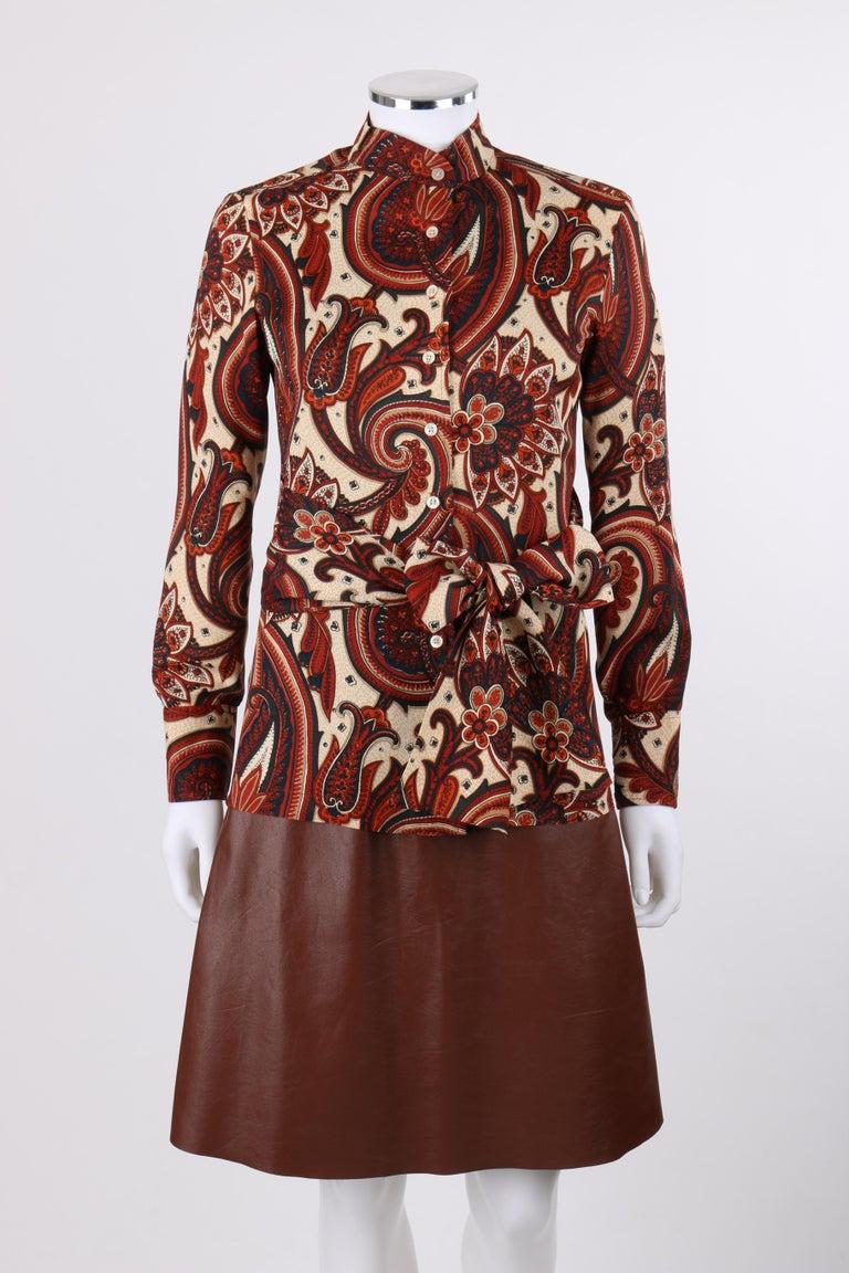 Brown ANNE KLEIN c.1970's 3 Piece Paisley Blouse Leather Jumper Dress Set w/ Sash For Sale