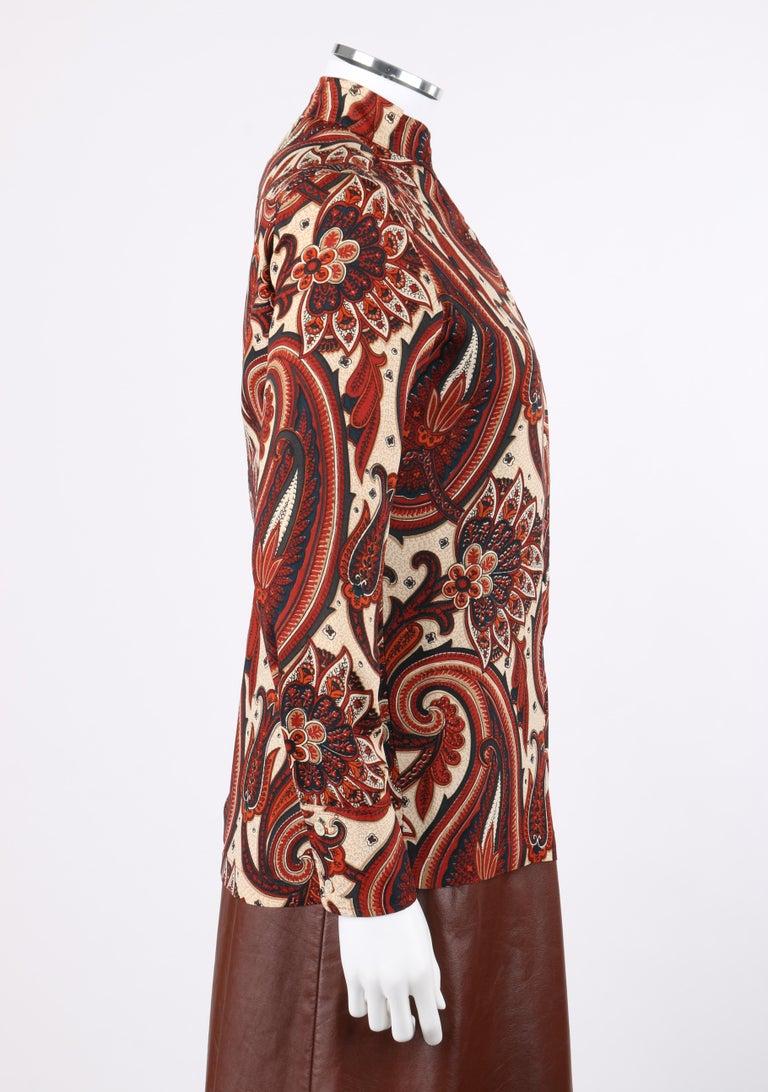 Women's ANNE KLEIN c.1970's 3 Piece Paisley Blouse Leather Jumper Dress Set w/ Sash For Sale