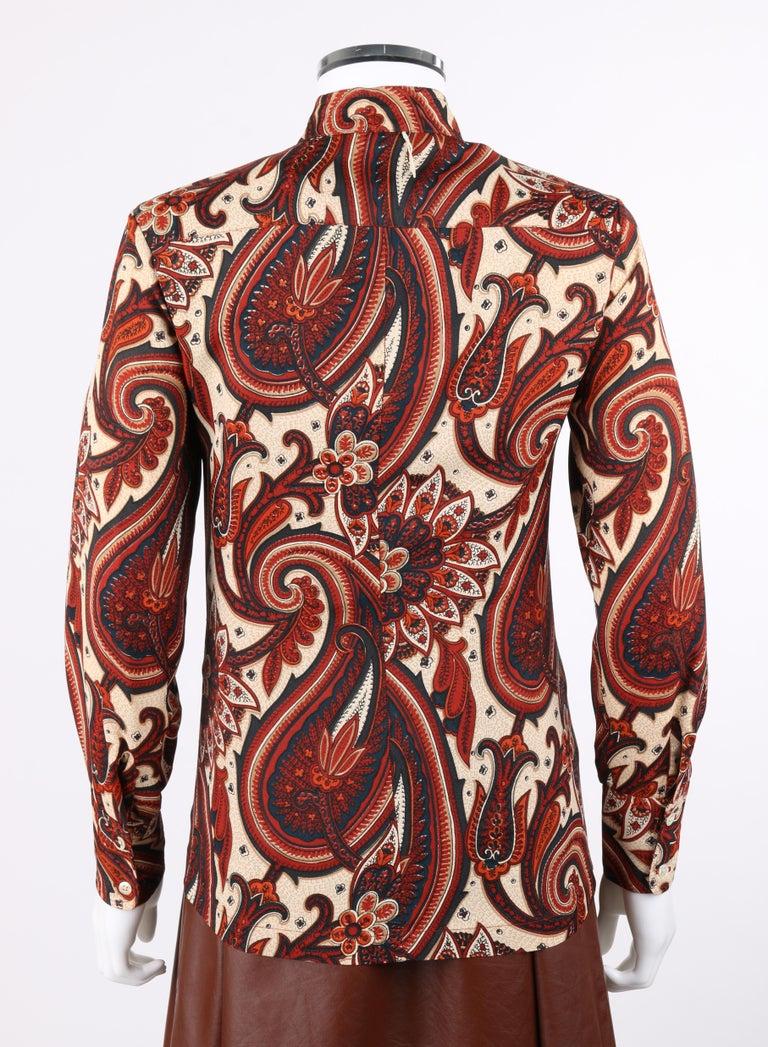 ANNE KLEIN c.1970's 3 Piece Paisley Blouse Leather Jumper Dress Set w/ Sash For Sale 1