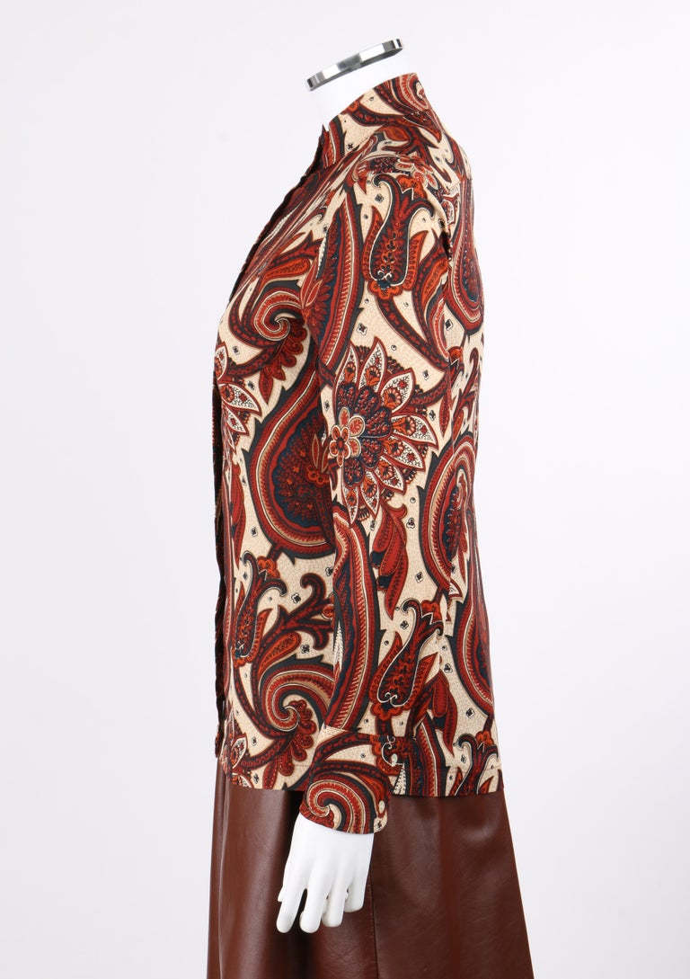 ANNE KLEIN c.1970's 3 Piece Paisley Blouse Leather Jumper Dress Set w/ Sash For Sale 2