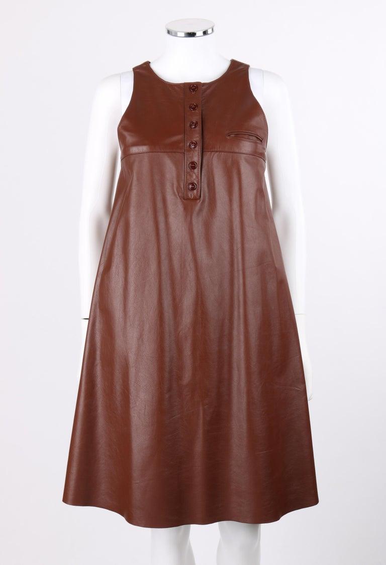 ANNE KLEIN c.1970's 3 Piece Paisley Blouse Leather Jumper Dress Set w/ Sash For Sale 3