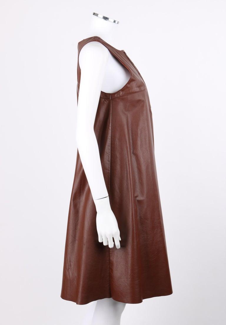 ANNE KLEIN c.1970's 3 Piece Paisley Blouse Leather Jumper Dress Set w/ Sash For Sale 4