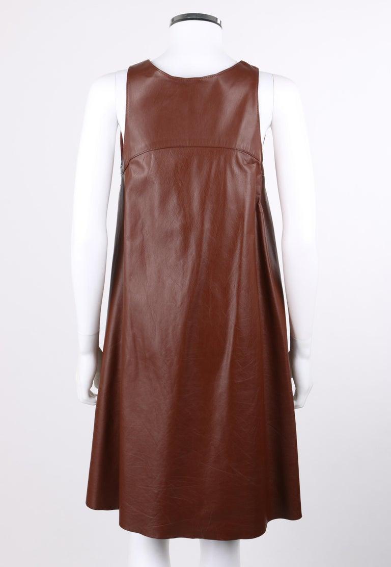 ANNE KLEIN c.1970's 3 Piece Paisley Blouse Leather Jumper Dress Set w/ Sash For Sale 5