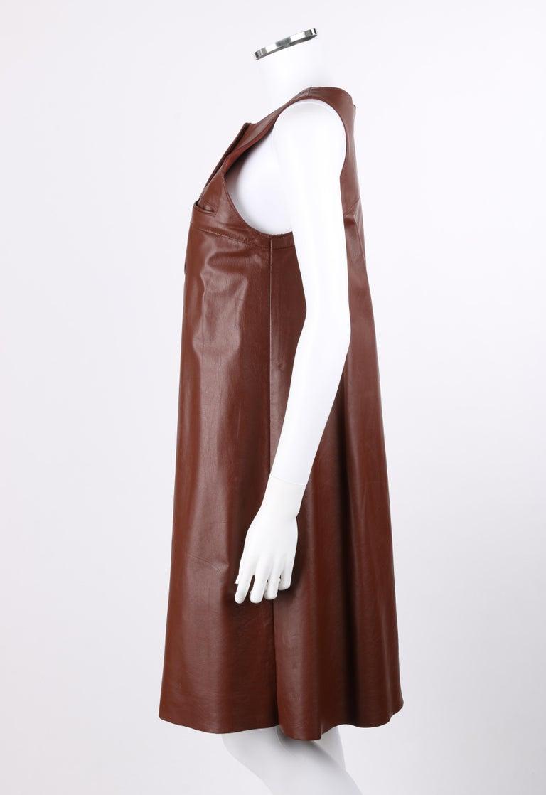 ANNE KLEIN c.1970's 3 Piece Paisley Blouse Leather Jumper Dress Set w/ Sash For Sale 6