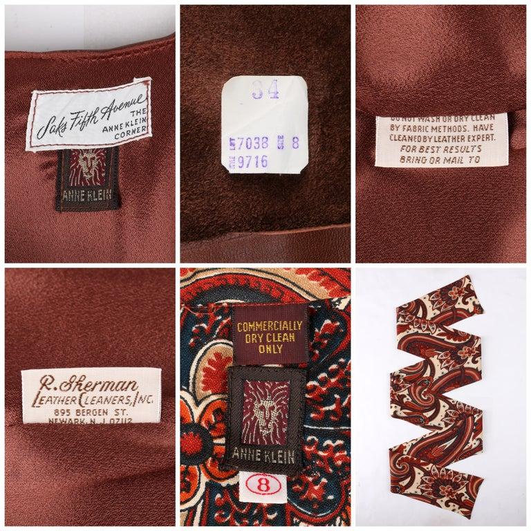 ANNE KLEIN c.1970's 3 Piece Paisley Blouse Leather Jumper Dress Set w/ Sash For Sale 7