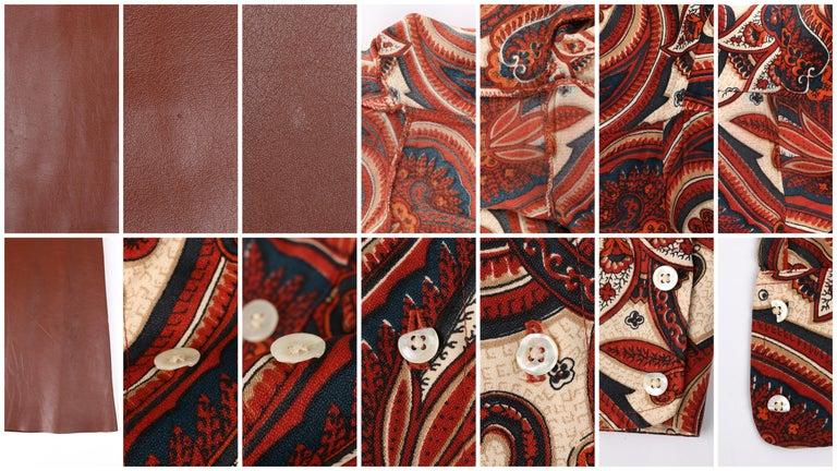 ANNE KLEIN c.1970's 3 Piece Paisley Blouse Leather Jumper Dress Set w/ Sash For Sale 8