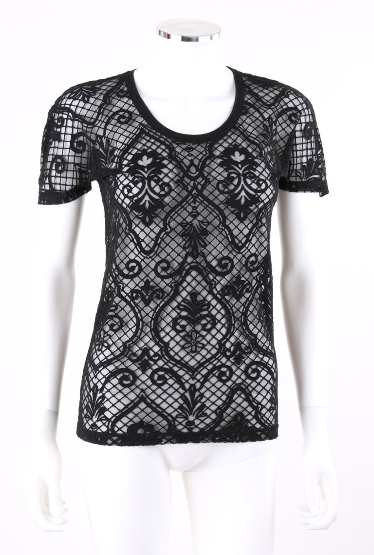 DESCRIPTION: VERSACE S/S 2005 Black Baroque Mesh Knit Scoop Neck Tee Shirt   Brand / Manufacturer: Versace Designer: Donatella Versace Style: T-shirt Color(s): Black Lined: No Unmarked Fabric Content (feel of): Synthetic blend Additional Details /