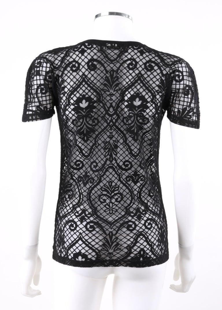 Women's VERSACE S/S 2005 Black Baroque Mesh Knit Scoop Neck Tee Shirt For Sale