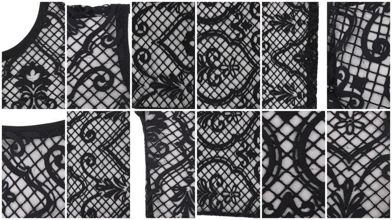 VERSACE S/S 2005 Black Baroque Mesh Knit Scoop Neck Tee Shirt For Sale 3