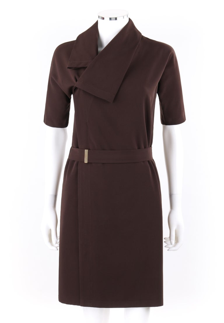 DESCRIPTION: GUCCI A/W 2010 Brown Dolman Sleeve Belted Asymmetrical Shift Cocktail Dress   Brand / Manufacturer: Gucci Collection:  Designer: Frida Giannini Manufacturer Style Name:  Style: Asymmetrical shift dress Color(s): Brown Lined: No Marked