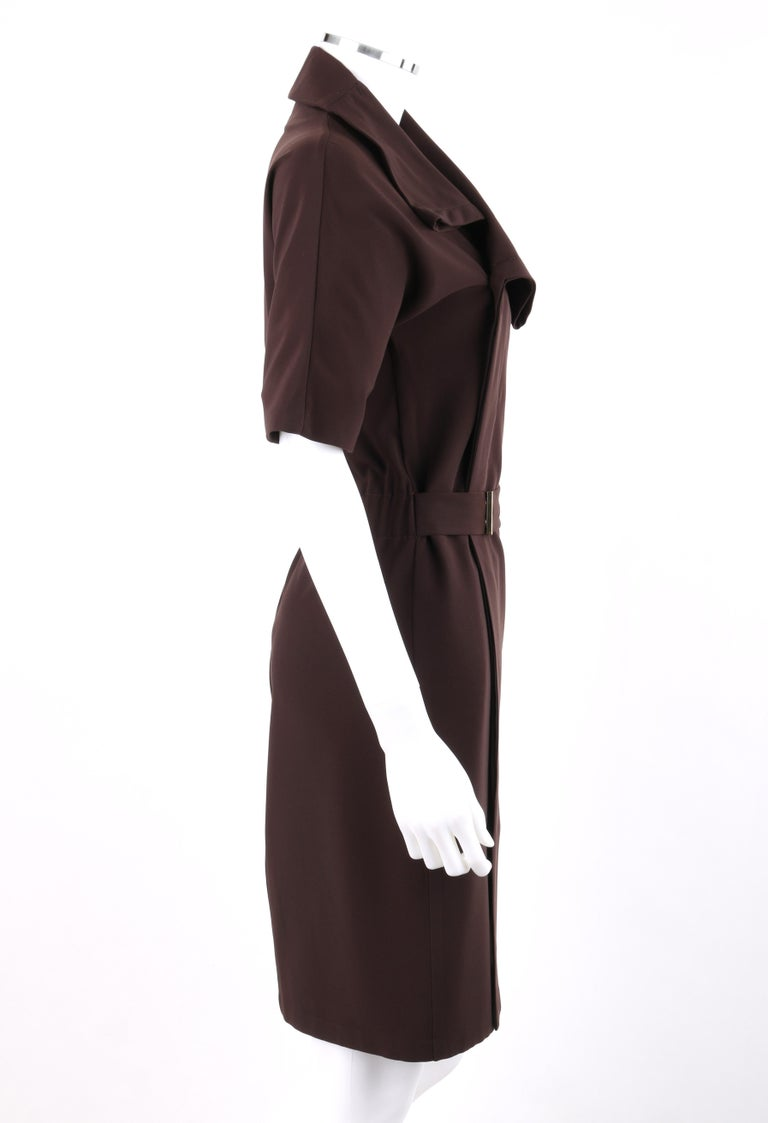 Black GUCCI A/W 2010 Brown Dolman Sleeve Belted Asymmetrical Shift Cocktail Dress For Sale