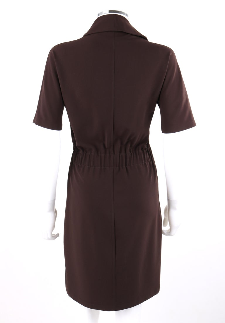 GUCCI A/W 2010 Brown Dolman Sleeve Belted Asymmetrical Shift Cocktail Dress In Good Condition For Sale In Thiensville, WI