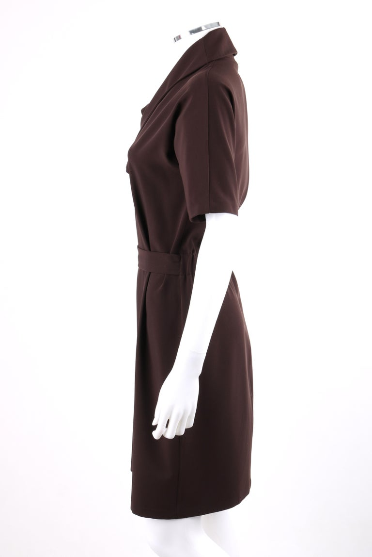 Women's GUCCI A/W 2010 Brown Dolman Sleeve Belted Asymmetrical Shift Cocktail Dress For Sale