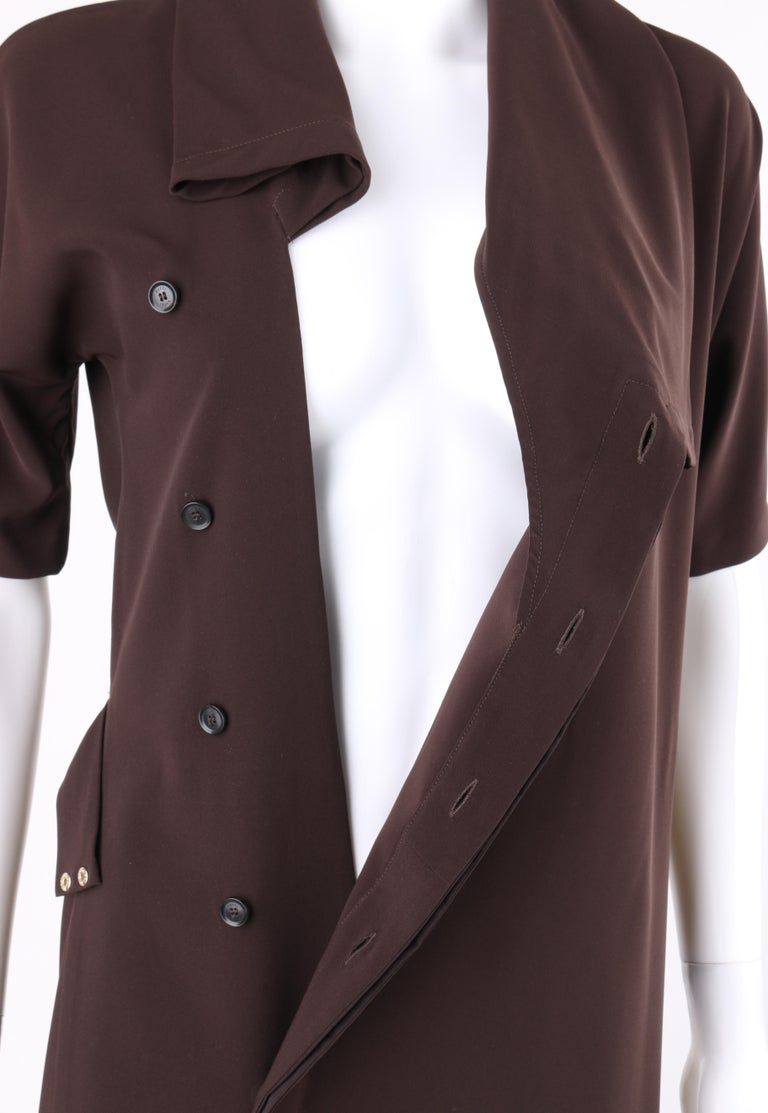 GUCCI A/W 2010 Brown Dolman Sleeve Belted Asymmetrical Shift Cocktail Dress For Sale 1