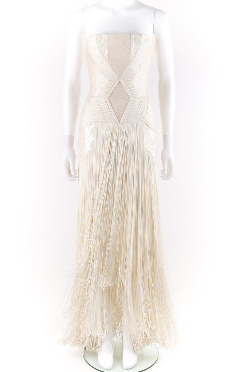 DESCRIPTION: Atelier VERSACE S/S 2011 White Sequin Embellished Fringe Art Deco Evening Gown   Brand / Manufacturer: Versace Collection: Atelier; Spring / Summer 2011 Runway Look #46 Designer: Donatella Versace Style: Evening gown Color(s): Shades of