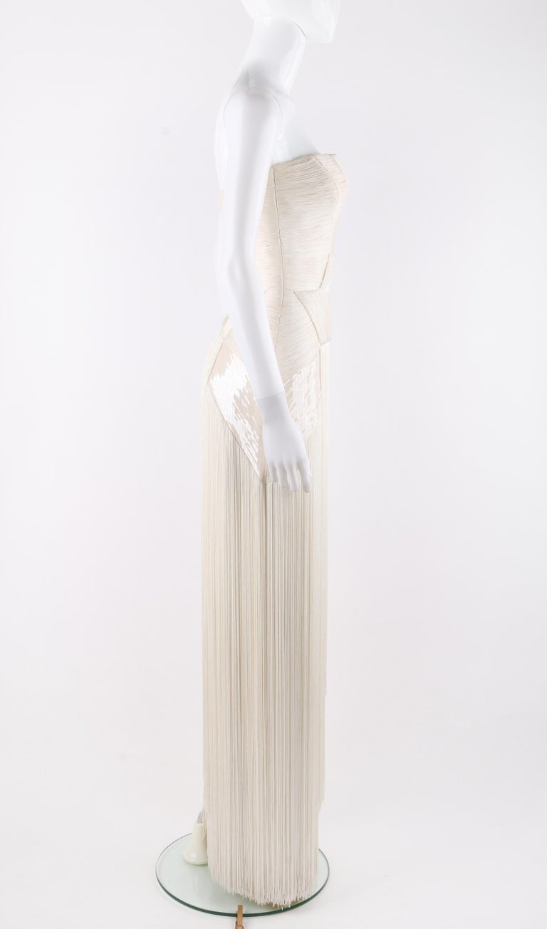 Women's Atelier VERSACE S/S 2011 White Sequin Embellished Fringe Art Deco Evening Gown For Sale