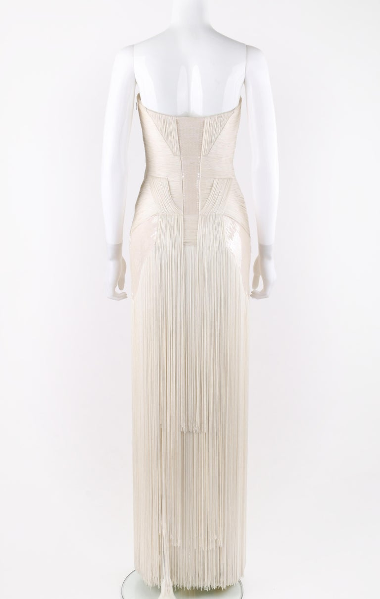 Atelier VERSACE S/S 2011 White Sequin Embellished Fringe Art Deco Evening Gown For Sale 1