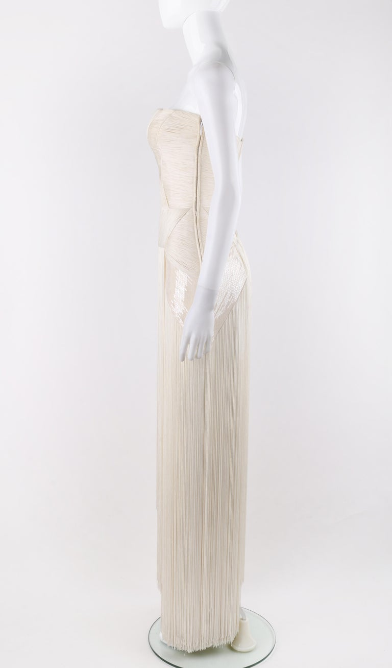 Atelier VERSACE S/S 2011 White Sequin Embellished Fringe Art Deco Evening Gown For Sale 2