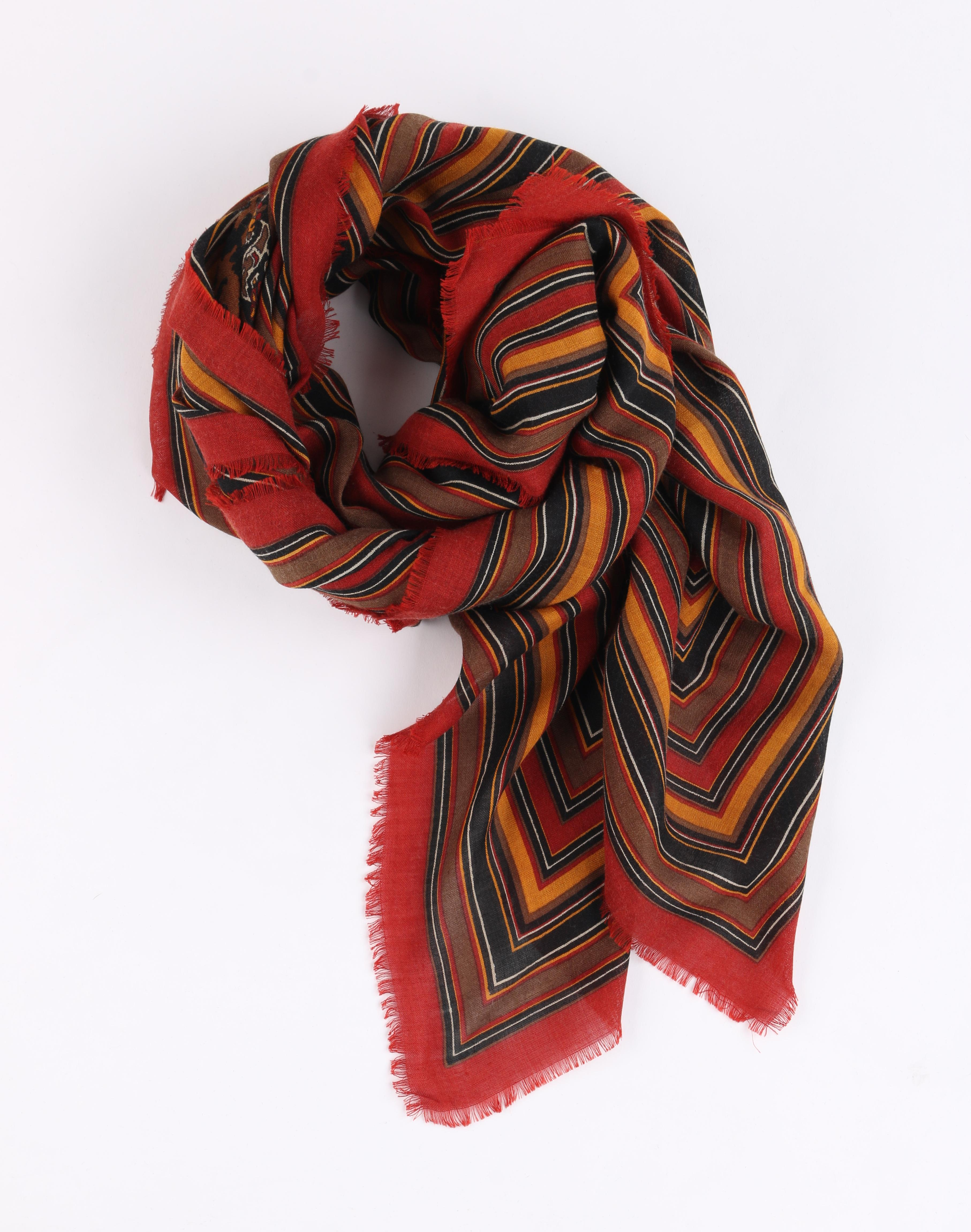 c441506778b YVES SAINT LAURENT Foulards A/W 1983 YSL Striped and Floral Wool Silk Scarf  / Wrap For Sale at 1stdibs
