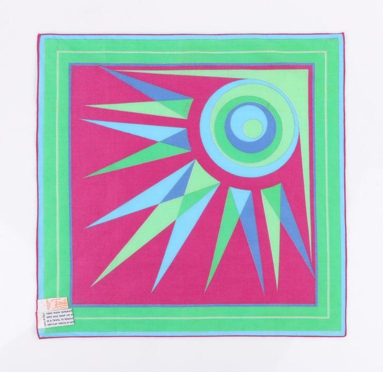 Women's EMILIO PUCCI c.1970's Sunburst Signature Print Square Scarf / Handkerchief NOS For Sale