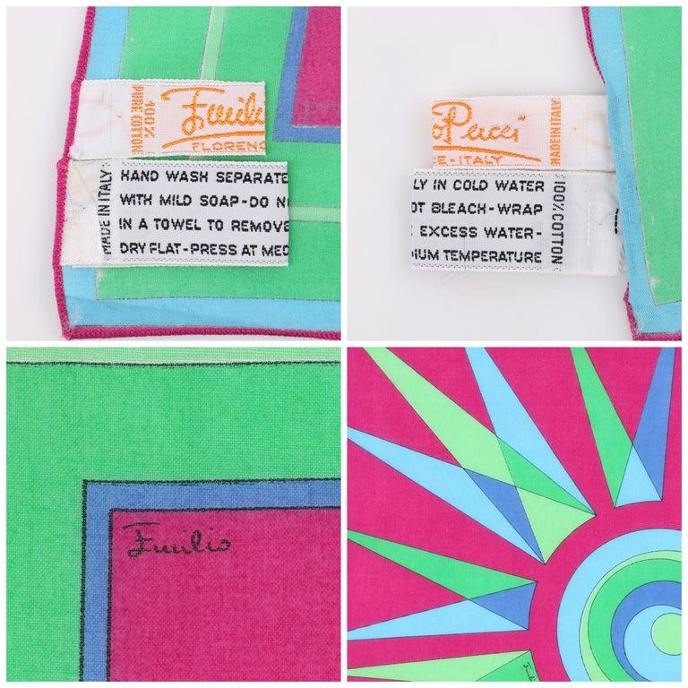 EMILIO PUCCI c.1970's Sunburst Signature Print Square Scarf / Handkerchief NOS For Sale 1