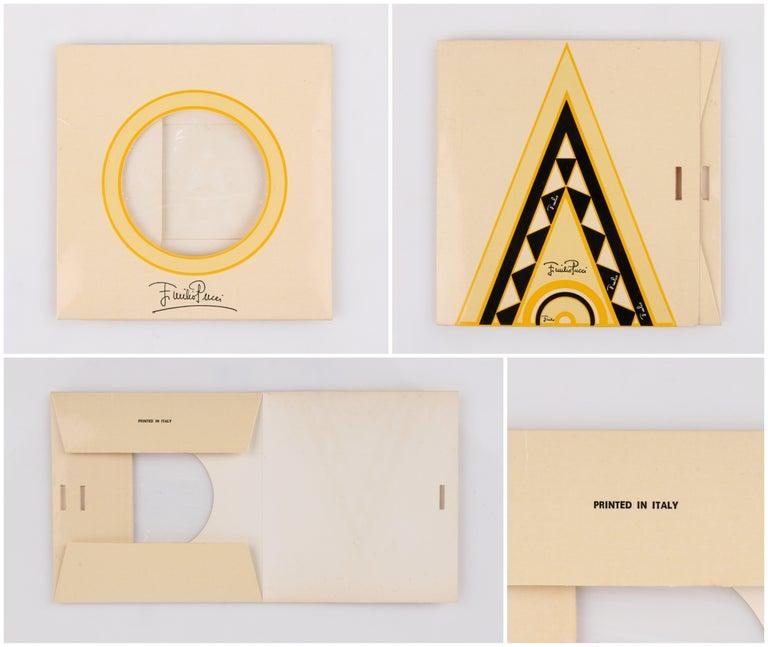 EMILIO PUCCI c.1970's Sunburst Signature Print Square Scarf / Handkerchief NOS For Sale 2