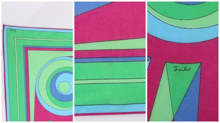 EMILIO PUCCI c.1970's Sunburst Signature Print Square Scarf / Handkerchief NOS For Sale 3