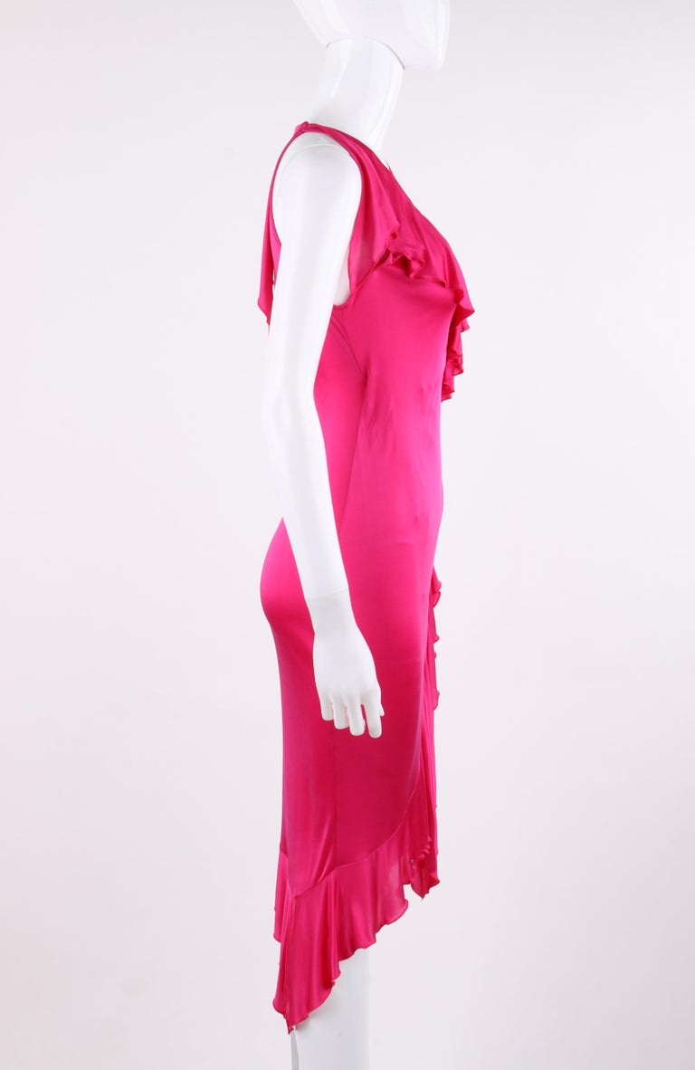Women's VERSACE S/S 2004 Hot Pink Knit V Neck Ruffle Wrap Dress For Sale