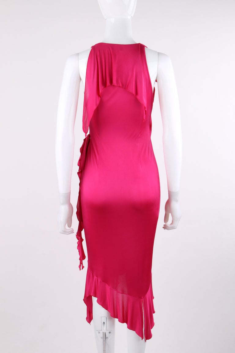 VERSACE S/S 2004 Hot Pink Knit V Neck Ruffle Wrap Dress For Sale 1