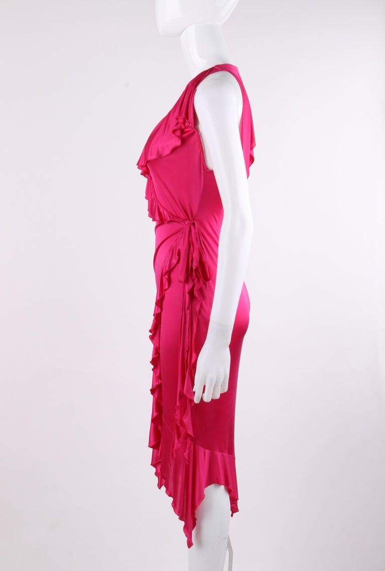 VERSACE S/S 2004 Hot Pink Knit V Neck Ruffle Wrap Dress For Sale 2