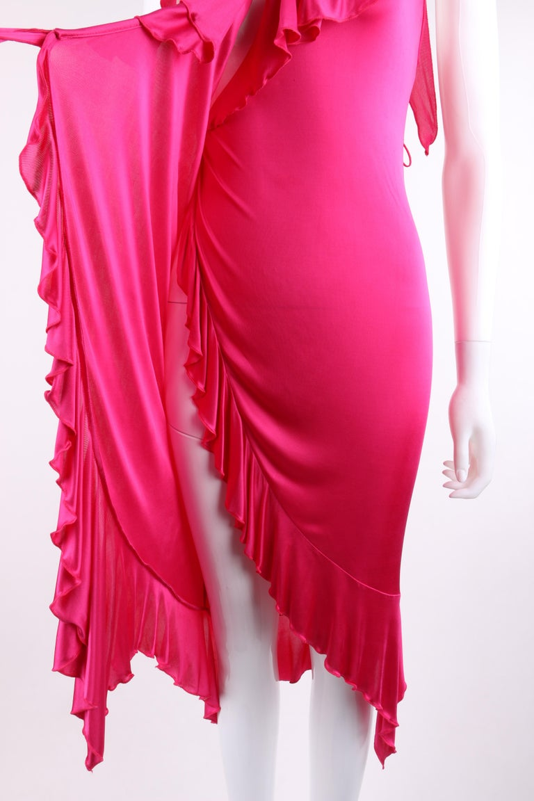 VERSACE S/S 2004 Hot Pink Knit V Neck Ruffle Wrap Dress For Sale 3