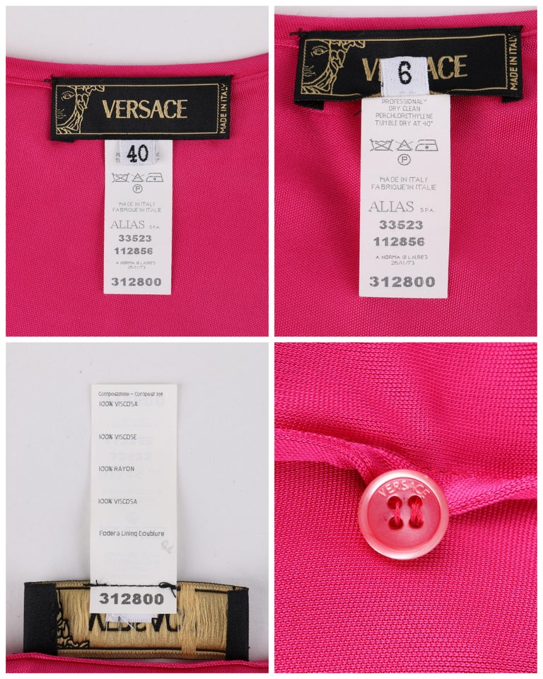 VERSACE S/S 2004 Hot Pink Knit V Neck Ruffle Wrap Dress For Sale 4