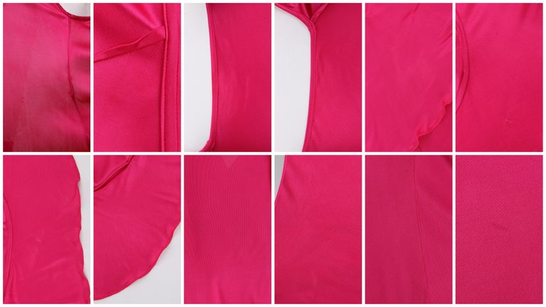 VERSACE S/S 2004 Hot Pink Knit V Neck Ruffle Wrap Dress For Sale 6
