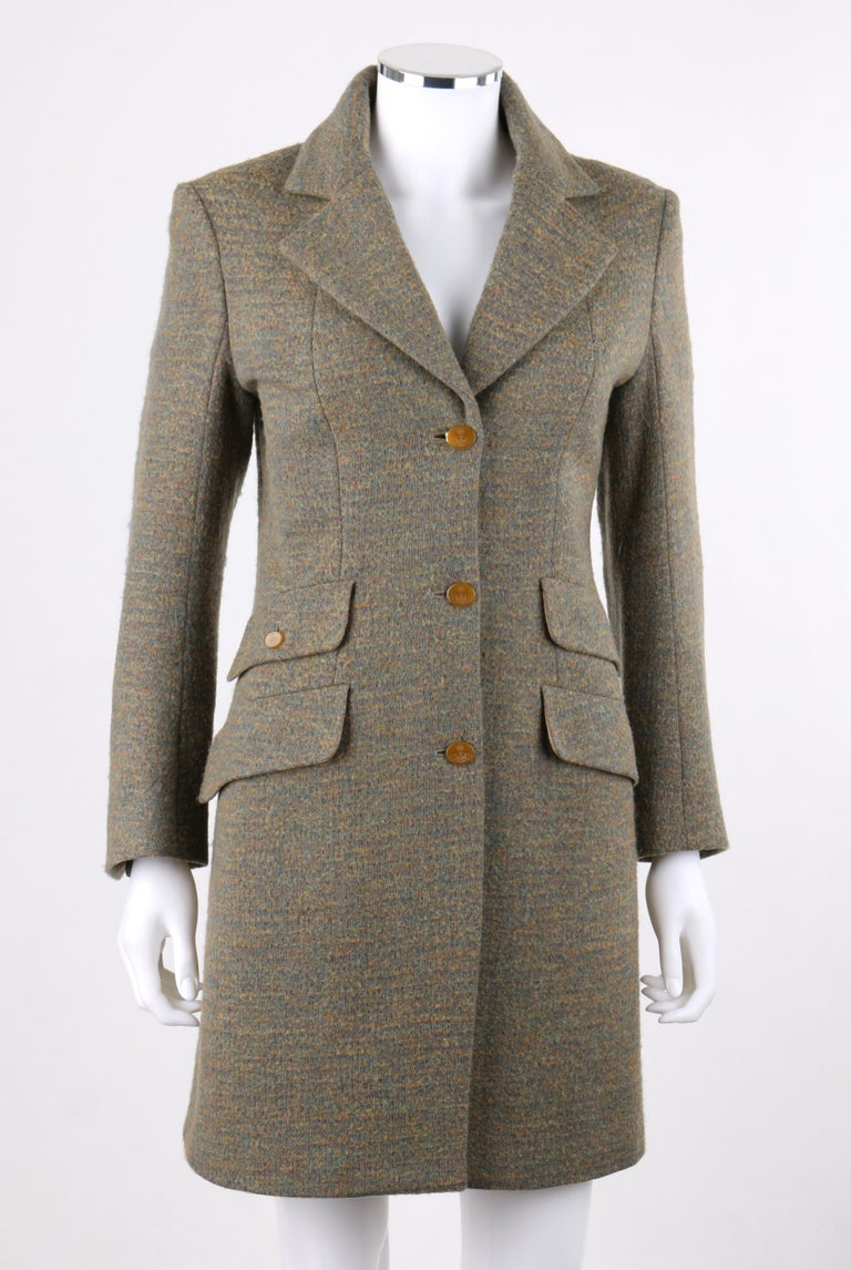 DESCRIPTION: VIVIENNE WESTWOOD Red Label S/S 1999 Tweed Wool Tailored Princess Coat Jacket   Circa: Spring / Summer 1999 Label(s): Vivienne Westwood Red Label  Style: Tailored princess coat Color(s): Multi in shades of blue, yellow, tan brown, and