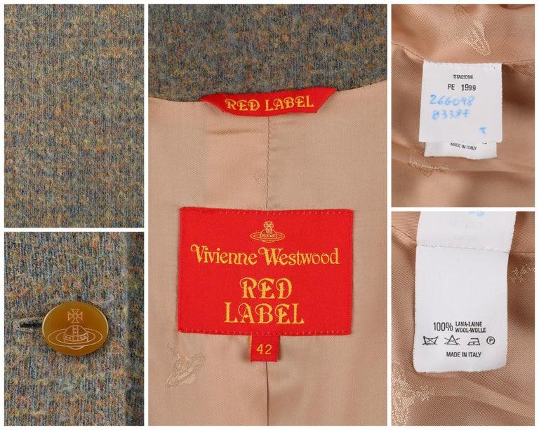 VIVIENNE WESTWOOD Red Label S/S 1999 Tweed Wool Tailored Princess Coat Jacket For Sale 2